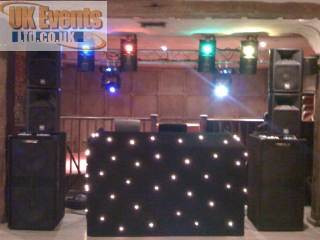 All black disco and dj with starcloth surround