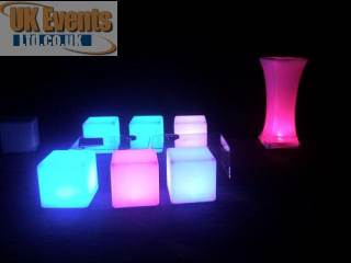 Coloured LED Cubes for hire