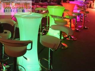 Colour chaning wireless poseur table hire